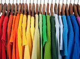 Fototapety Colors of rainbow, clothes on wooden hangers