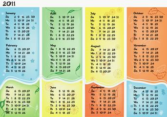 Calendar 2011 in four columns
