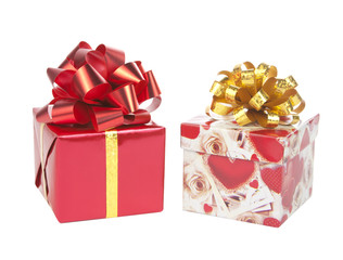 Two gift boxes with bows bows