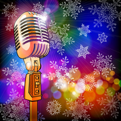 microphone in the colored lights & snowflakes