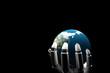 Cyborg hand holding the earth