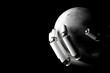 Cyborg hand protecting moon