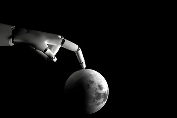 Cyborg hand playing with moon