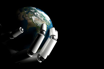 Cyborg hand protecting earth