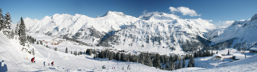 Winter at Arlberg Mountains - Wide Panoramic View