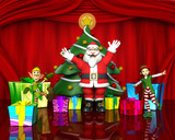 santa and the elves helpers poster