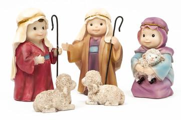 Belén con pastores y ovejas