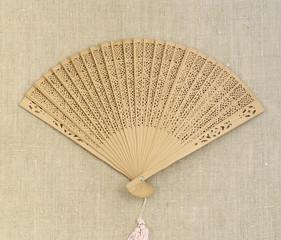 fan on sackcloth background