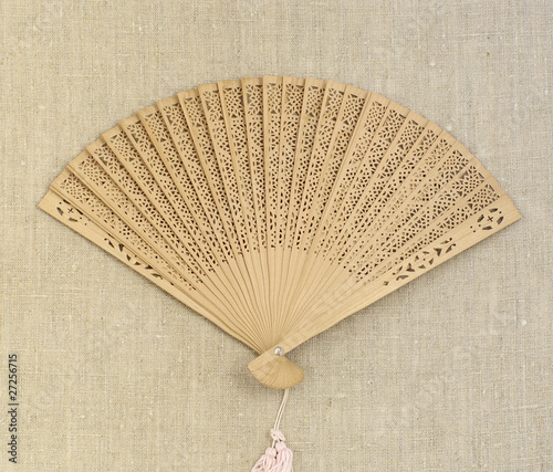 fan on sackcloth background
