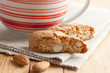 italian cantuccini cookies and coffee cup