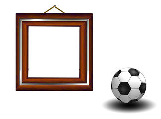 Soccer background with wooden frames