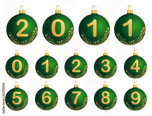 Green Christmas Balls with numerals 0-9