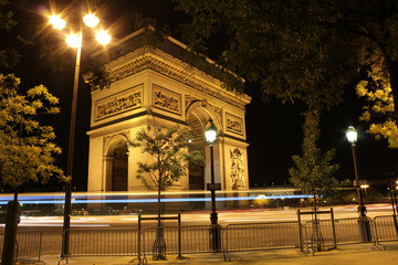 Beautiful night view of the Arc de Triomphe Paris France