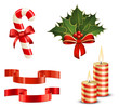 Candy Cane, Christmas Holly, Ribbons and Candles