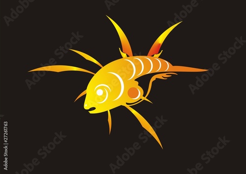 Fiery fish logo isolated on a black background