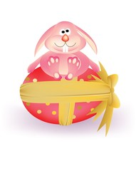 Pink Easter egg with ribbon and pink carton bunny rabbit