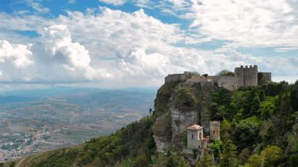 Clouds above Erice, old castle on the hill.