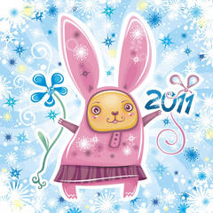 Vector card with  rabbit celebrating New Year  2011 sign.