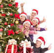 Group of young people in santa hat show thumb.