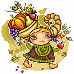 Happy cute girl wearing Cornucopia hat