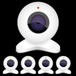 Set of white webcams with bright lights, vector illustration..
