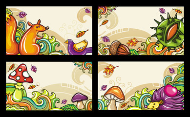 Vector set of decorative autumnal cards. Design elements  1