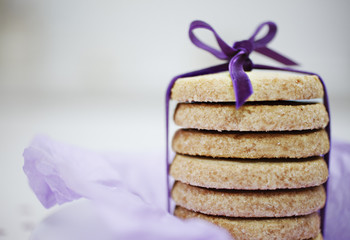 close up of ribbon around stack of cookies