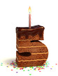 number five shaped cake with lit candle and confetti