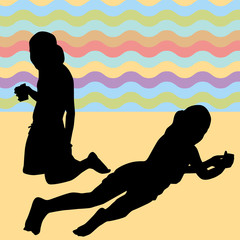 Children Laying on the Beach