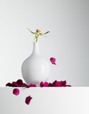 red flower petals falling from stem in vase