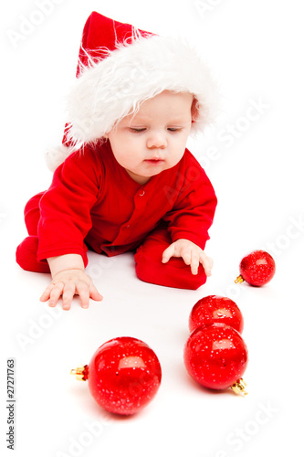 Sweetheart in red bodysuit and Santa hat