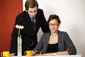 Pretty businesswoman with colleague in meeting or office