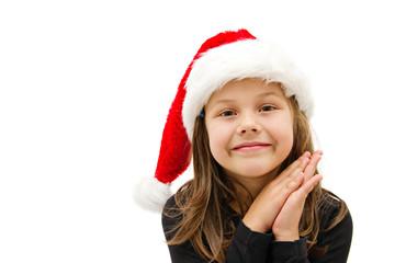 little girl dressed like a santa claus
