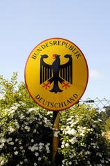 Grenze Schild Deutschland Emaille