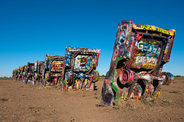 Famous Cadillac Ranch installation in Amarillo, Texas