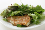 fried flounder with lettuce poster