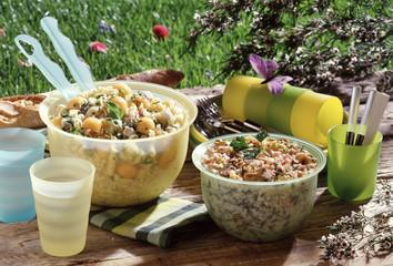 Salade de pâtes et salade de riz