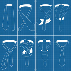 Vector tie and knot instructions blueprint