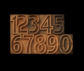 outline wood letterpress type numbers