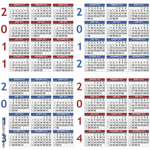 Four classic calendar templates for years 2011 - 2014