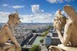 Famous gargoyles of Notre Dame overlooking Paris (compos)