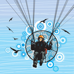 Parachutist flight with birds