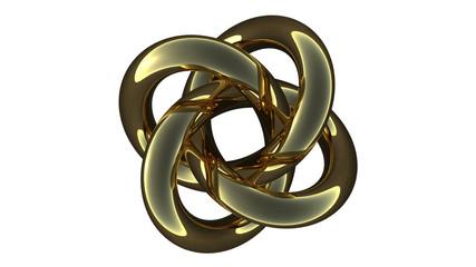 Computer rendering of a metallic torus knot