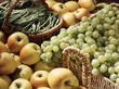 Raisin blanc, haricots verts et pommes