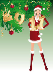 "Santa girl and numbers ""2011"". vector"