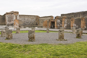 Ruins of Pompeii: a courtyard
