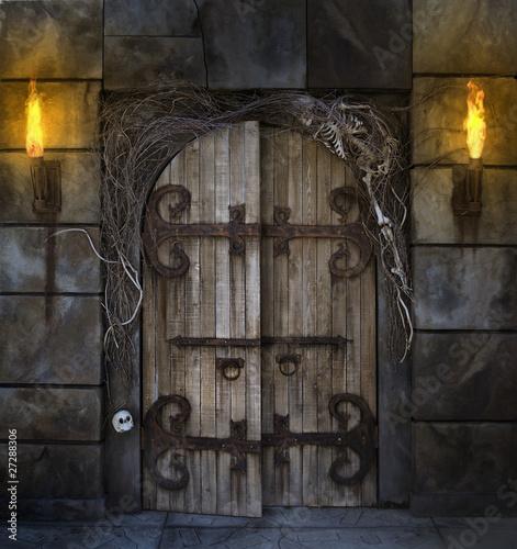 In de dag Begraafplaats Spooky Door