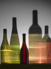 Ombres de bouteilles de vin