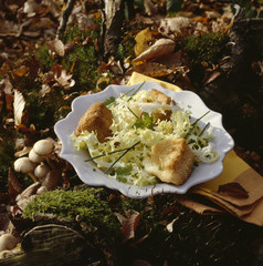 Salade au camembert croustillant