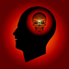 Abstract - Halftone Skull Sign in Human Head